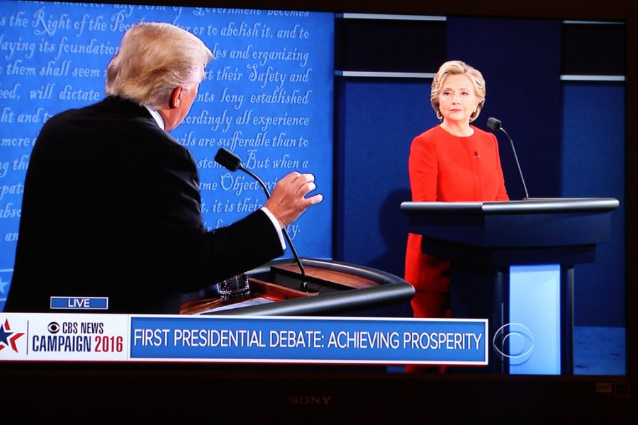 Presidential candidates Hillary Clinton and Donald Trump during the first presidential debate of the 2016 election.