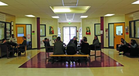 Durango High School students hang out in west wing quad. Next year the quad will be walled off from the rest of the school with only fire doors connecting the quad to the rest of the west wing and the second floor world language wing.