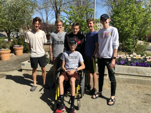 Friends of Corra visit him in Craig Hospital in Denver, Colorado. Aiden Fitzgerald, Noah Bodewes, Logan Moore, Paul Knight, and Marcus Flint run Cross-country with Corra