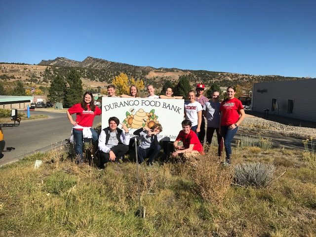 Students members of FCCLA club help out at the Durango Food Bank by cooking and providing meals for the needy.